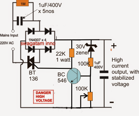 High Current Transformerless Power Supply